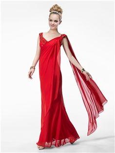 Admirable V-Neck Sequins Floor-Length Lace A-line Watteau Train Evening/Prom Dress