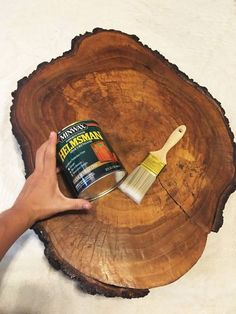 We've seen people use wood slabs, but her dining room table is unreal!