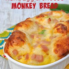 {Overnight} Ham, Egg, and Cheese Monkey Bread Recipe Breakfast and Brunch, Breads with eggs, milk, biscuit dough, cooked ham, shredded cheddar cheese, green onions