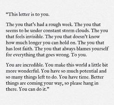 This letter is to you.
