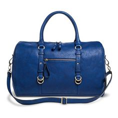 Women's Solid Weekender Handbag with Adjustable Strap - Blue