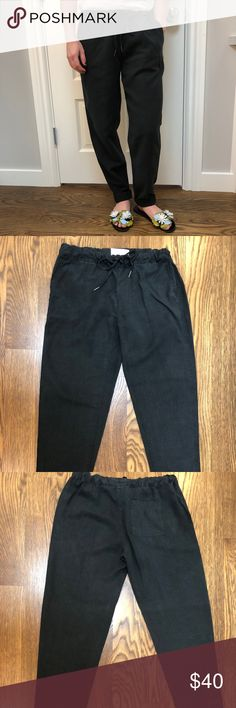 Joie Black Linen Trousers Joie linen pants in XS. Casual yet cool. So comfy to knock around town in, and can be paired with heels for a dressier look. Drawstring waist, cuffed ankle. Joie Pants Trousers