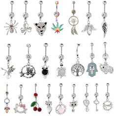 12pcs Gem mixed different design Belly Button Ring 316L steel navel body piercing jewelry Piercing Nombril for women girl bikini