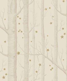 tienda online telas & papel   Papel troncos y estrellas crema
