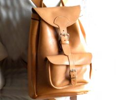 Natural Leather Backpack.