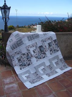 Grey and White, handmade quilt, by Ans