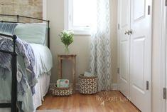 Faux Plank Wall Update - The Crazy Craft Lady Removable Backsplash, Plank Walls, Decor Crafts, Home Decor, Ladder Decor, Coastal, Paper Crafts, Bedroom, Lady
