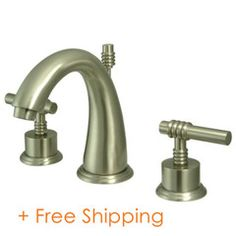 """Two Handle 8"""" to 16"""" Widespread Lavatory Faucet with Brass Pop-up Satin Nickel KS2968ML"""