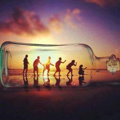 Beach fun. Sunset. Best friends