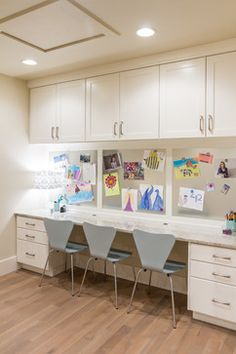 Homework station - adaptable space could be used for a crafting area, gift wrap station, laundry, etc. once the kids have grown and move out.