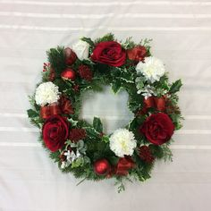 Christmas Wreath, Holiday Wreath, Christmas Wreath for Front Door, Rose and Carnation Decor, Winter Decoration Christmas Wreaths For Front Door, Holiday Wreaths, Christmas Decorations, Holiday Decor, Sunflower Arrangements, Artificial Flower Arrangements, Etsy Wreaths, White Carnation, Red Ornaments