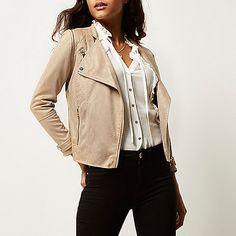 beige faux suede biker jacket biker jackets coats jackets women zip
