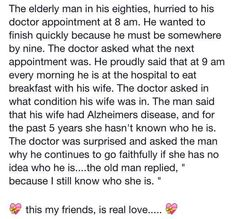 True love is forever. Real Love, Real Man, Love Is All, True Love, Love Is A Verb, Marriage Anniversary, Elderly Man, Alzheimer's And Dementia, He Wants