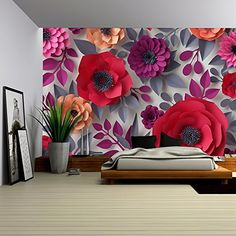 Digital Flowers Art Wall Self-adhesive Design Wallpaper Home Decor Cut into 4 Paper Flowers Craft, Paper Flower Wall, Crepe Paper Flowers, Paper Flower Backdrop, Flower Art, Flower Crafts, Paper Decorations, Flower Decorations, Removable Wall Murals