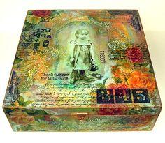 Viola: big altered box for little treasures. Scylla's note: Cigar Box Of Shadows. Cigar Box Projects, Cigar Box Crafts, Art Projects, Altered Cigar Boxes, Altered Tins, Altered Art, Altered Canvas, Mixed Media Canvas, Mixed Media Collage