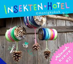 Insektenhotel basteln, Mitmach-Kukuk # 21 Hanging insect hotel /// Hanging insect hotel /// Hotel colgante para insectos Always open! Build a home for hardworking bees and co! Upcycled Crafts, Diy And Crafts, Arts And Crafts, Diy For Kids, Crafts For Kids, Wild Bees, Bug Hotel, Nature Crafts, Kids And Parenting