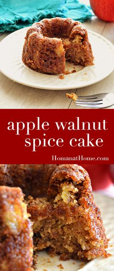 Apple Walnut Spice Cake Dense, moist apple cake with crunchy walnuts and a cinnamon spice glaze. Easy to make with ingredients you probably already have around your kitchen! Spice Cake Recipes, Easy Cake Recipes, Apple Recipes, Dessert Recipes, Pumpkin Recipes, Holiday Recipes, Moist Apple Cake, Apple Spice Cake, Apple Walnut Cake Recipe