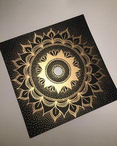 4x4 Hand Painted Canvas: Gold Mandala on Black Set by HennaByBeth
