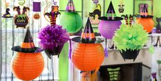 Witch Pom poms ~ Halloween party ~ children's Halloween party decorrions ~ Halloween birthday ~ haunts house ~ witches feet ~ fall decor by evescrafts on Etsy https://www.etsy.com/listing/292323419/witch-pom-poms-halloween-party-childrens