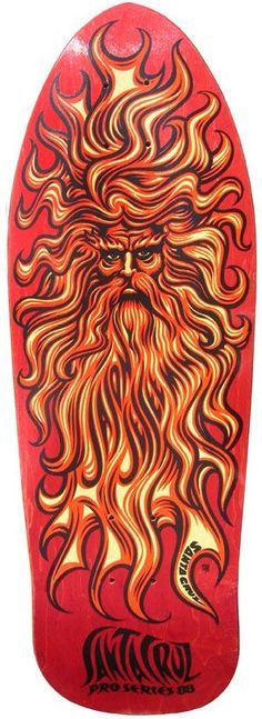 Jim Phillips, creator of the iconic Screaming Hand, fashioned this image of the Sun God for Santa Cruz pro Jason Jessee Old School Skateboards, Vintage Skateboards, Cool Skateboards, Skateboard Deck Art, Skateboard Design, Longboard Design, Jim Phillips, San Jose Ca, Original Skateboards
