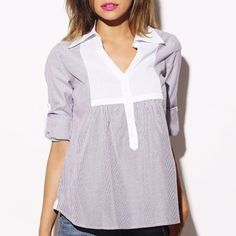 Pinstripe Blouse Purple and white pinstripe blouse with white accent at neck.  Tie in back to Mae tighter fit.  Long sleeves roll up and button on sides of blouse. This is my lowest price listed upfront.  Thanks for looking! Tops Blouses