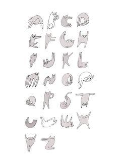 Gato alfabetogran impresión  tipografíaModern por jamieshelman