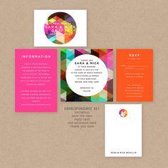 Bold, Colorful, Geometric Printable Wedding Invitation - Etsy
