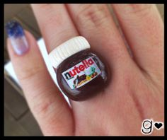 Nutella inspired Ring - Chocolate - Miniaure Ring - Miniature Jewelry - Food Miniature - Sweet Ring - Polymer Clay Ring. $12.00, via Etsy.