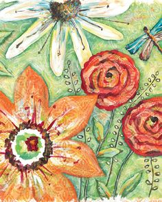 colorful floral prints...www.lorisiebertstudio.etsy.com