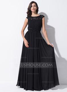 Evening Dresses - $139.99 - A-Line/Princess Scoop Neck Floor-Length Chiffon Lace Evening Dress With Ruffle Beading Sequins (017051631) http://jjshouse.com/A-Line-Princess-Scoop-Neck-Floor-Length-Chiffon-Lace-Evening-Dress-With-Ruffle-Beading-Sequins-017051631-g51631