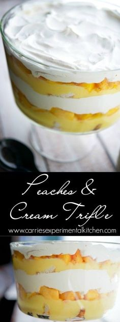 Peaches & Cream Trifle | CarriesExperimentalKitchen.com  #nobake #dessert