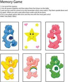 Care Bear Memory Game, Care Bears, Games - Free Printable