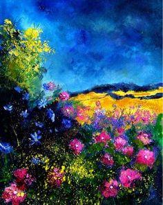 "Saatchi Art Artist Pol Ledent; Painting, ""Pink flowers"" #art"