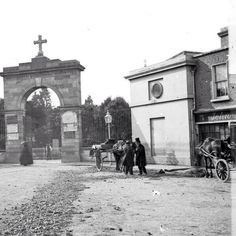 """Entrance to Glasnevin Cemetary with Kavanagh's """"The Gravediggers"""" pub to the right. Both worth a visit. Dublin Pubs, Dublin Street, Dublin City, Dublin Ireland, Ireland Pictures, Old Pictures, Old Photos, Vintage Photos, Irish Independence"""