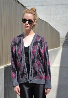Vintage 80's Metallic Mohair Mix Cardigan