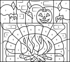 Hard Color By Number Halloween Coloring Pages Sketch Coloring Page Fall Coloring Pages, Halloween Coloring Pages, Coloring Pages For Kids, Coloring Sheets, Coloring Books, Halloween Books, Halloween Crafts, Halloween Pics, Halloween Color By Number