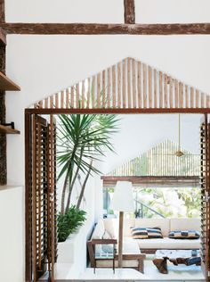 wood + white outdoor room