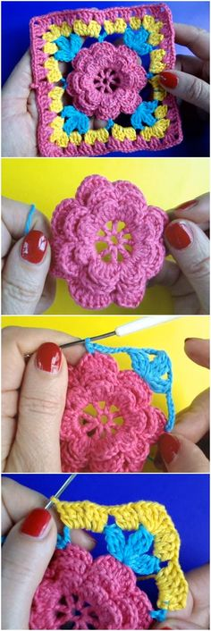 Crochet Square Flower Motif Step By Step