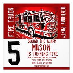 Fire Truck Engine Firefighter Birthday Invitations