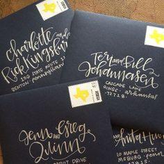 Envelope addressing by laurenish design - silver on navy wedding invitation envelopes Hand Lettering Envelopes, Calligraphy Envelope, Envelope Art, Envelope Design, Typography Letters, Brush Lettering, Font Alphabet, Calligraphy Alphabet, Lettering Styles