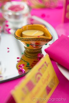Bombay Mix from Fuschia's Asian Dreams wedding and celebration collection. Indian tea lights makes a great centre piece with co-ordinating coloured tea light. By www.fuschiadesigns.co.uk