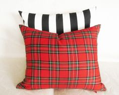 Plaid Pillows, Red Decorative Throw Pillow 18x18, Traditional Tartan, Colorful Country Christmas Home Decor, Seasonal Holiday Cushion Cover. $36.00, via Etsy.
