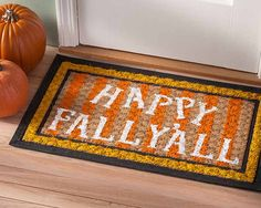 Happy Fall Y'all Welcome Door Mat via @plaidcrafts