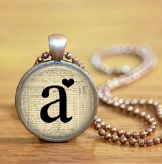 HEART MONOGRAM INITIAL Glass Pendant Necklace by juicychristians, $9.95