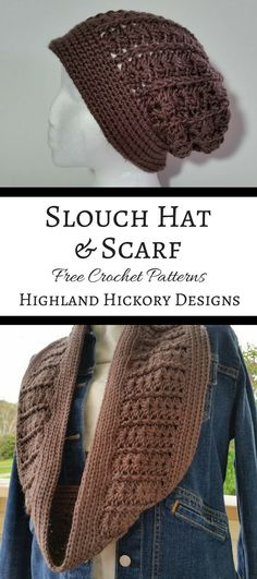 Crochet the Taupe Slouch Hat and matching infinity scarf for your winter accessories collection. The patterns are easy, free and fast to make.