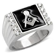 Steel Freemason Ring / Masonic Ring with Black Stone