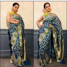 Kangana Ranaut in Swati and Sunaina Silk Saree Sabyasachi Sarees, Indian Sarees, Lehenga, Silk Sarees, Sari Design, Red Saree, Fashion Updates, Saree Blouse Designs, Fashion Studio