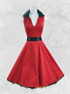 "Robe rockabilly vintage HR London ""Red Black Small Dot"" chez rockangehell.com"
