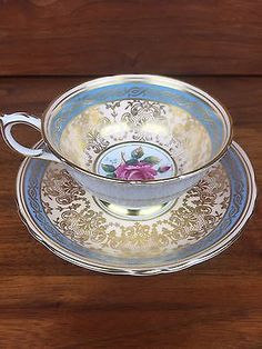 Beautiful Antique Turquoise And Gold Filigree Paragon Tea Cup And Saucer Set