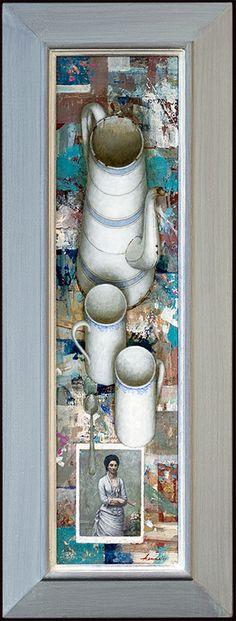 Kenne Grégoire - Koffie met Fantin Latour - acryl op paneel - 80x20 cm 2011